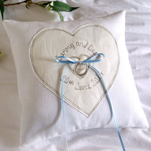 Personalised Something Blue Wedding Ring Cushion