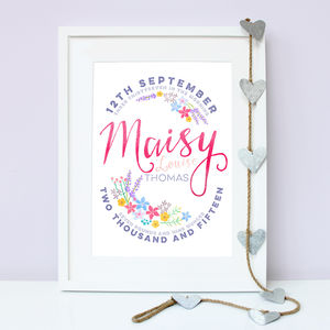 Personalised Floral Birth Print - baby & child sale