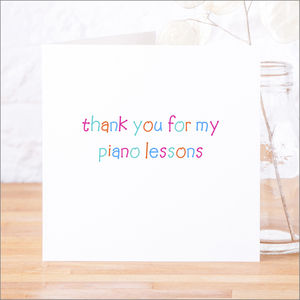 Personalised 'Thank You For My Lessons' Card