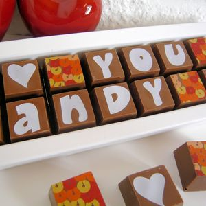 Chocolate Box With 'I Love You' And Name - valentine's gifts for him