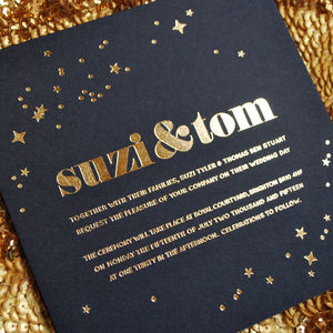 Starry Eyed Foiled Wedding Invitation - mystical decadence wedding trend