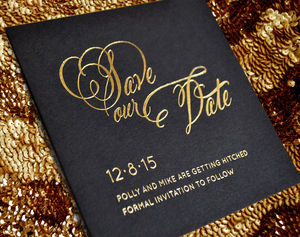 Script Foiled Wedding Save The Date