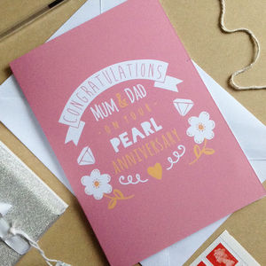 Personalised Pearl Wedding Annviersary Card