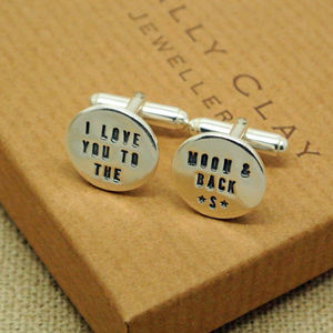 Personalised Silver To The Moon And Back Cufflinks