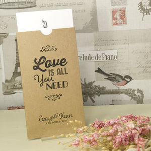 Kraft Love Is All You Need Wedding Invitation - wedding stationery
