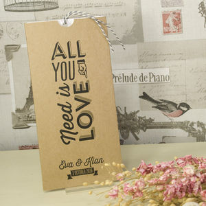 Kraft 'All You Need Is Love' Wedding Invitation - wedding stationery