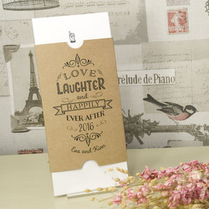 'Happily Yours' Vintage Kraft Wedding Invitation - wedding stationery