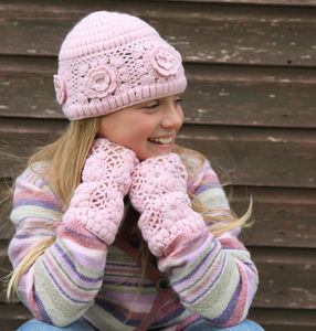 Crochet Cashmere Hat & Fingerless Gloves - new lines added