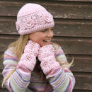 Crochet Cashmere Hat & Fingerless Gloves