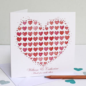 Personalised Heart From Hearts Greeting Card - anniversary cards