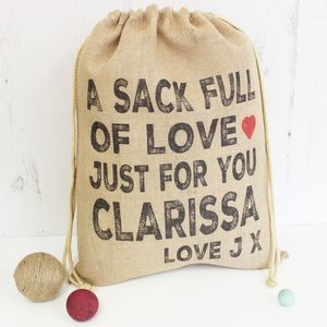 Personalised Valentines Day Hessian Sack