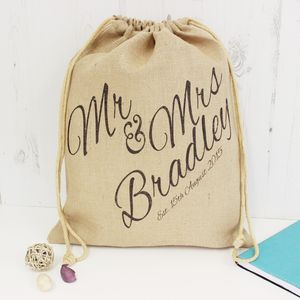 Personalised Mr And Mrs Wedding Hessian Sack - room decorations