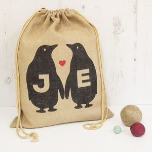 Personalised Penguin Hessian Sack - cards & wrap