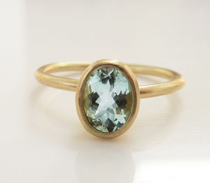 Aquamarine Gold Ring - engagement rings