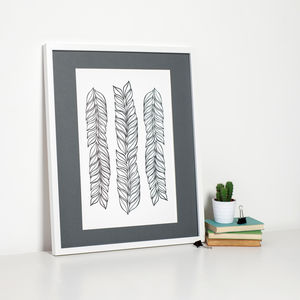 Black And White Leaves Art Print - posters & prints