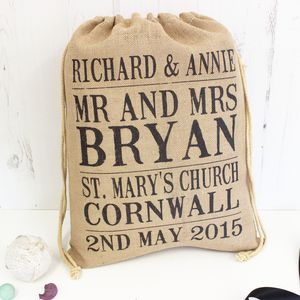 Personalised Wedding Poster Jute Sack - room decorations