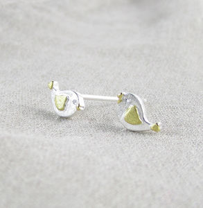 'Songbird' Silver Ear Studs - earrings