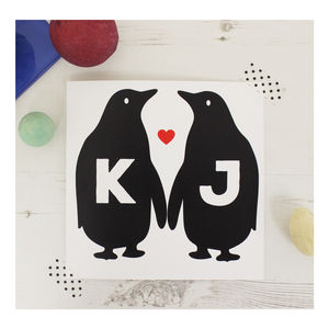 Personalised Penguin Valentine's Day Card