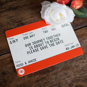 Train Ticket Save The Date - travel inspired