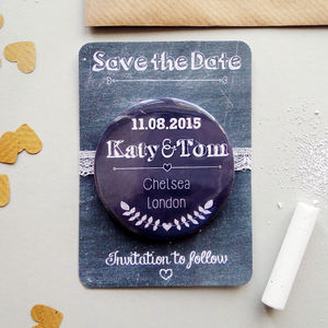 Chalkboard Style Wedding Save The Date Magnet - invitations