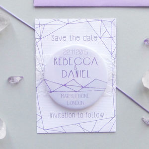 Lilac Crystal Wedding Save The Date Magnet