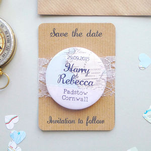 Map Wanderlust Wedding Save The Date Magnet
