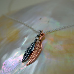 Rose Gold And Silver Tiny Feathers Necklace - necklaces & pendants