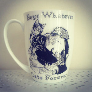 Boys Whatever, Cats Forever Bone China Mug