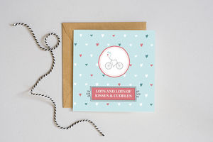 'Kisses And Cuddles' Bicycle Card