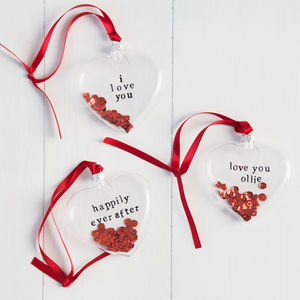 Personalised Glass Heart - tree decorations