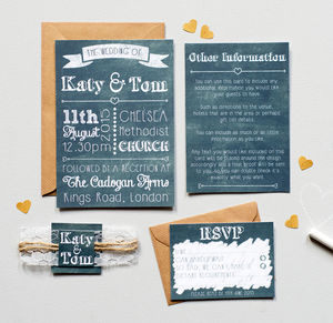 Chalk And Lace Wedding Invitation Set - invitations