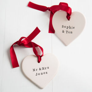 Personalised Valentine's Day Ceramic Heart - tree decorations