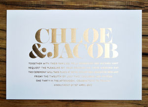 Classic Foiled Wedding Invitation - parties
