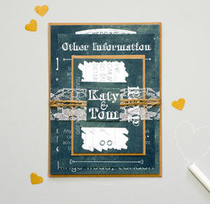 Chalkboard And Lace Wedding Invitation Bundle