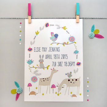 Personalised Woodland Friends Print