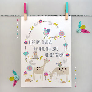 Personalised Woodland Friends Print - children's room