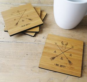 Set Of Four Personalised Wood Coasters - new home gifts