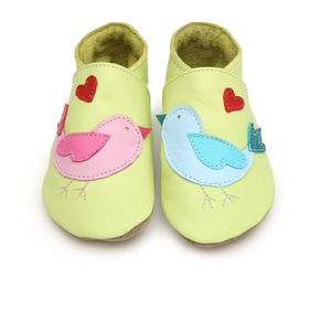 Soft Leather Baby Shoes Lovebirds Lemon - shoes & footwear