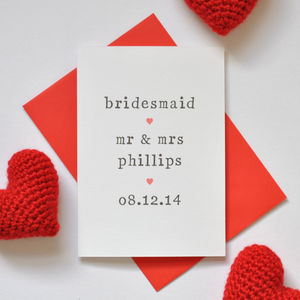 Personalised Bridesmaid Card - wedding cards