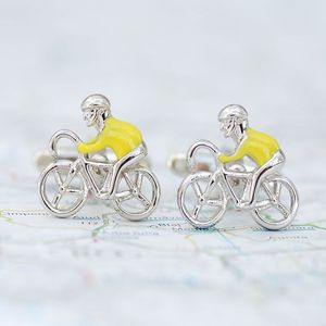 Personalised Yellow Racer Cufflinks - cufflinks