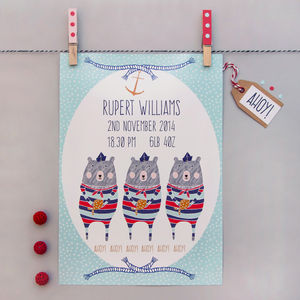 Personalised Nautical Bears Print