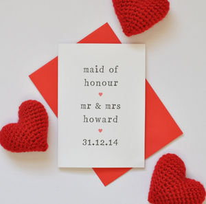 Personalised Maid Of Honour Card - wedding cards & wrap