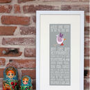 Personalised 'The Day You Were Born' Print Pebble Colourway/Pink Bird