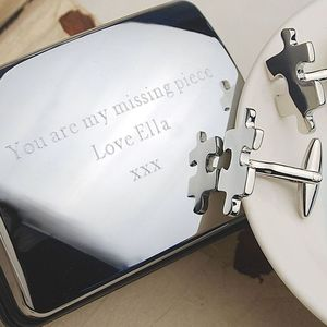 Personalised 'Missing Piece' Jigsaw Cufflinks - gifts for him