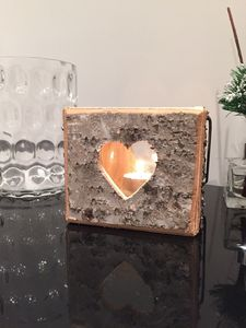 Square Wooden Heart Tealight Candle Holder