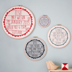 Personalised Baby Birth Hoop Frame - wall hangings