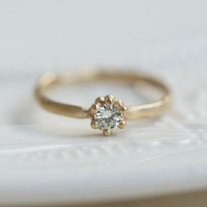 Sculpted Diamond Solitaire Engagement Ring - rings