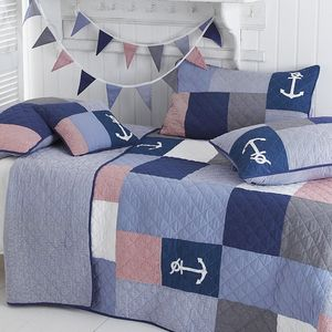 Sidmouth Nautical Patchwork Bedspread - baby & child sale