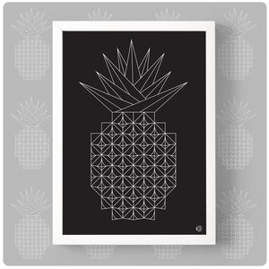 Geometric Line Pineapple Print