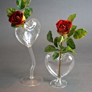 Heart Bud Vase With Faux Rose